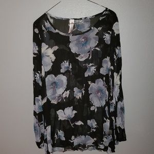 Black Loose Floral Sheer Blouse
